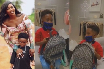 See Photos Of The ₦743k Worth Christian Dior Backpack Tiwa Savage Got For Her Son, Jamil